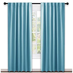 NICETOWN Window Treatment Solid Blackout Curtains - (Teal Blue Color) 52x84 Inch, 2 Panels, Blackout Drapery Panels for Kids Bedroom