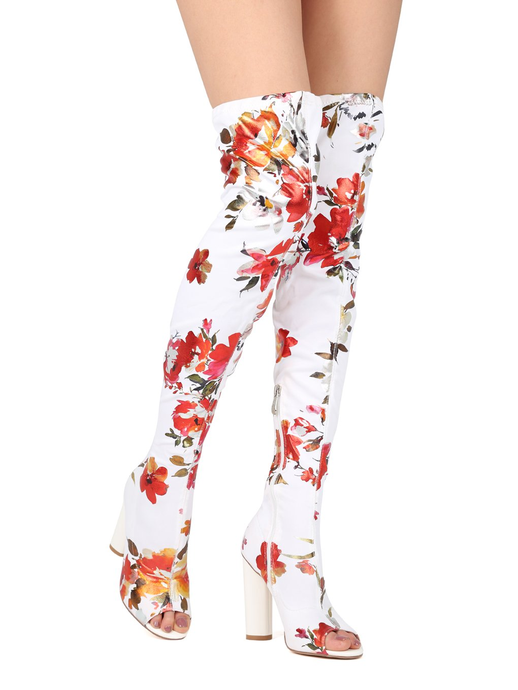 Alrisco Women Floral Fabric Peep Toe Thigh High Chunky Heel Boot HH81 - White (Size: 8.5)