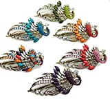 Dana Basics Vintage Jewelry Crystal Peacock Hair Clips (6 Set)
