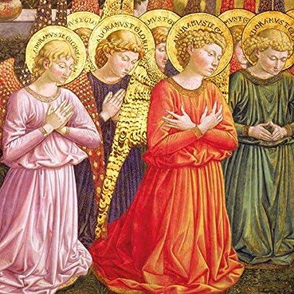Caridad tarjetas de Navidad – Pack de 8 – Adoring ángeles: Amazon.es: Oficina y papelería