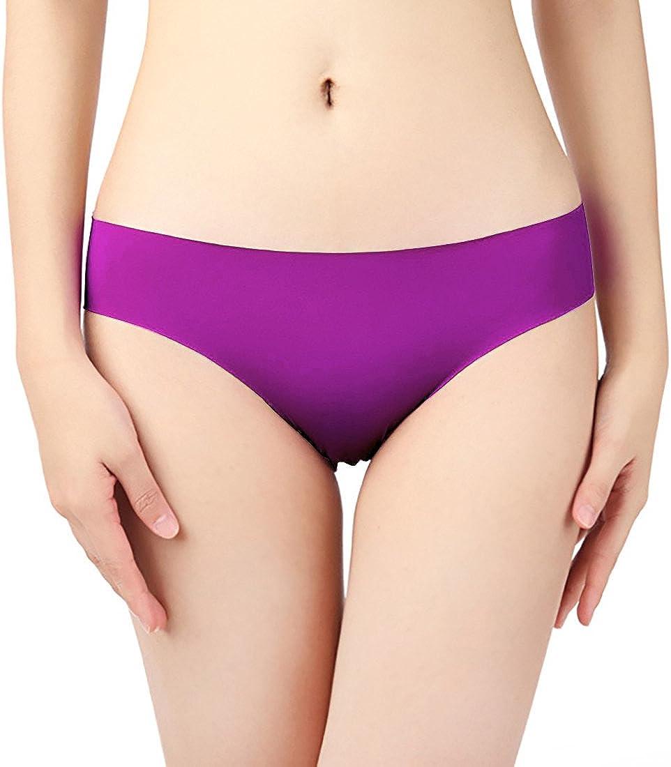 FEOYA 4pcs Mutande Slip Donna Culotte a Vita Senza Cuciture Biancheria Intima Traspirante Invisibile