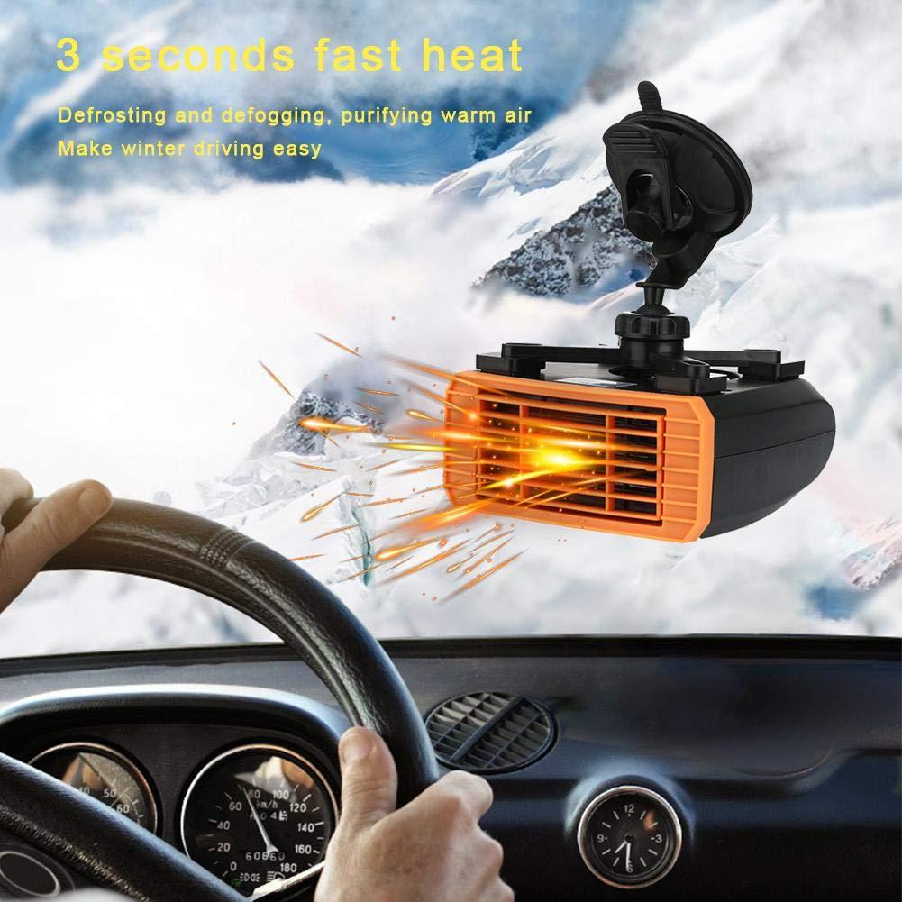 Descongelador port/átil para calentador de autom/óvil 150W Desempa/ñador de parabrisas 2 en 1 Calentador de cer/ámica de 120W 24V Auto Calentador r/ápido y ventilador de enfriamiento SUNWAN 12V