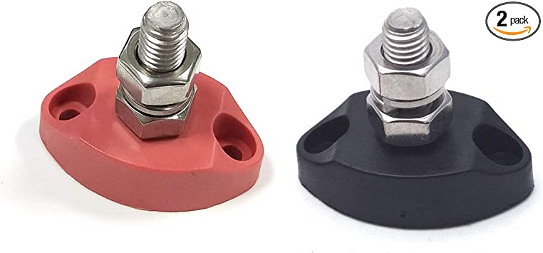 """Red /& Black Junction Block Power Post Set Insulated Terminal Stud 3//8/"""" Stainless"""