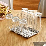 Mug holders silver,European-style fashion stainless steel kitchen cup storage rack drip cup holder with water tray-A