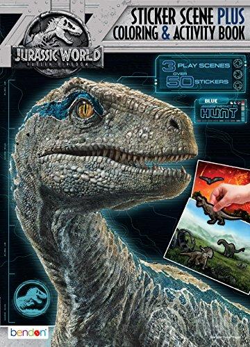 Bendon Sticker Scene Plus Coloring and Activity Book, Jurassic World Fallen Kingdom