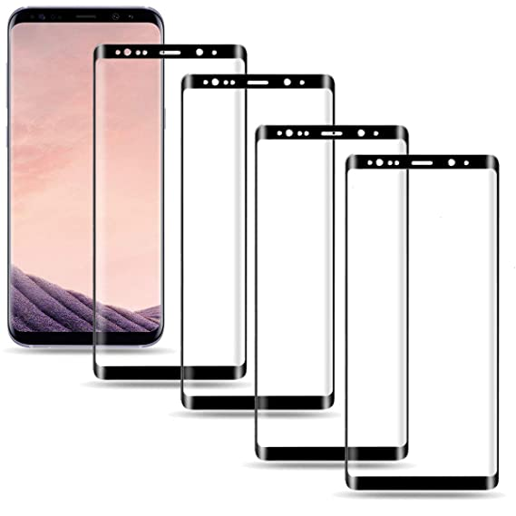 Moresky Compatible with Samsung Galaxy S8 Plus Screen Protector S8+  Tempered Glass Full Coverage 3D Curved Edge [4-Pack]