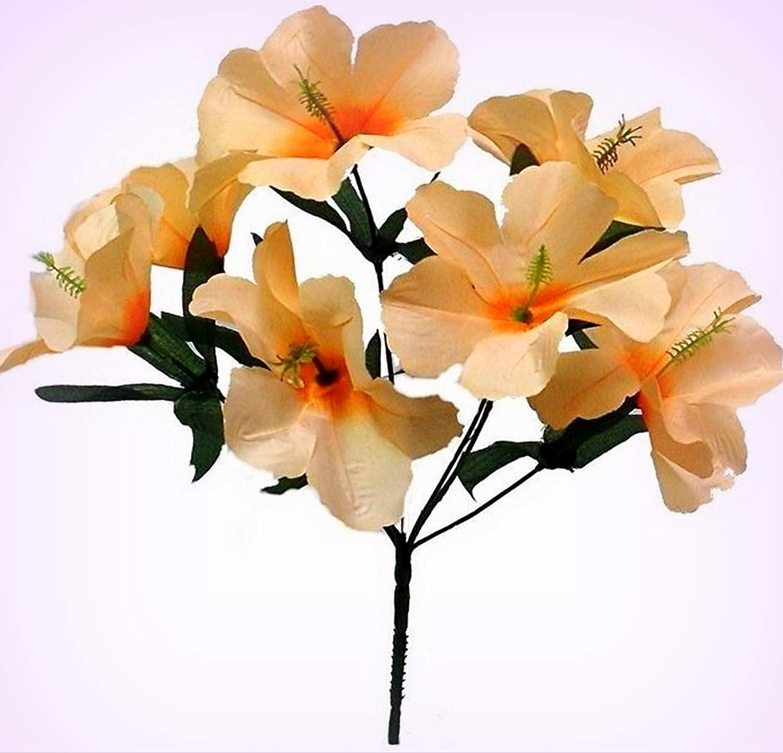 Amazoncom Inna Wholesale Art Crafts New 5 Hibiscus Peach Silk