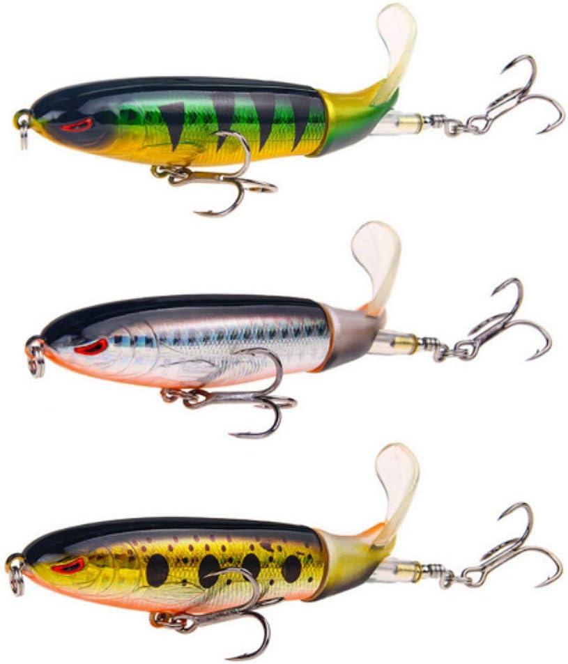 3PCS Crankbait Topwater Whopper Popper Fishing Lure Rotating Tail Tackle