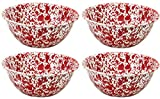 enamel ware bowls - Crow Canyon Enamelware Round Salad/Serving Bowl, Classic Tableware - Set of 4 - Red Marble Pattern, 8.5 Inches