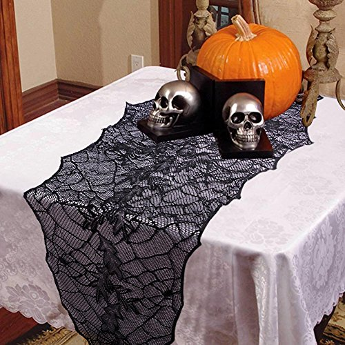OurWarm Clearance Halloween Party Decoration Black Lace Leaf Web Table Runner 74 x 22 Inch Fireplace Mantle Scarf Cover Festive Supplies