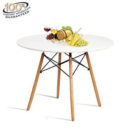 HYhome Kitchen Dining Table Round Coffee Table Modern Leisure Wood Tea Table  Office Conference Pedestal Desk