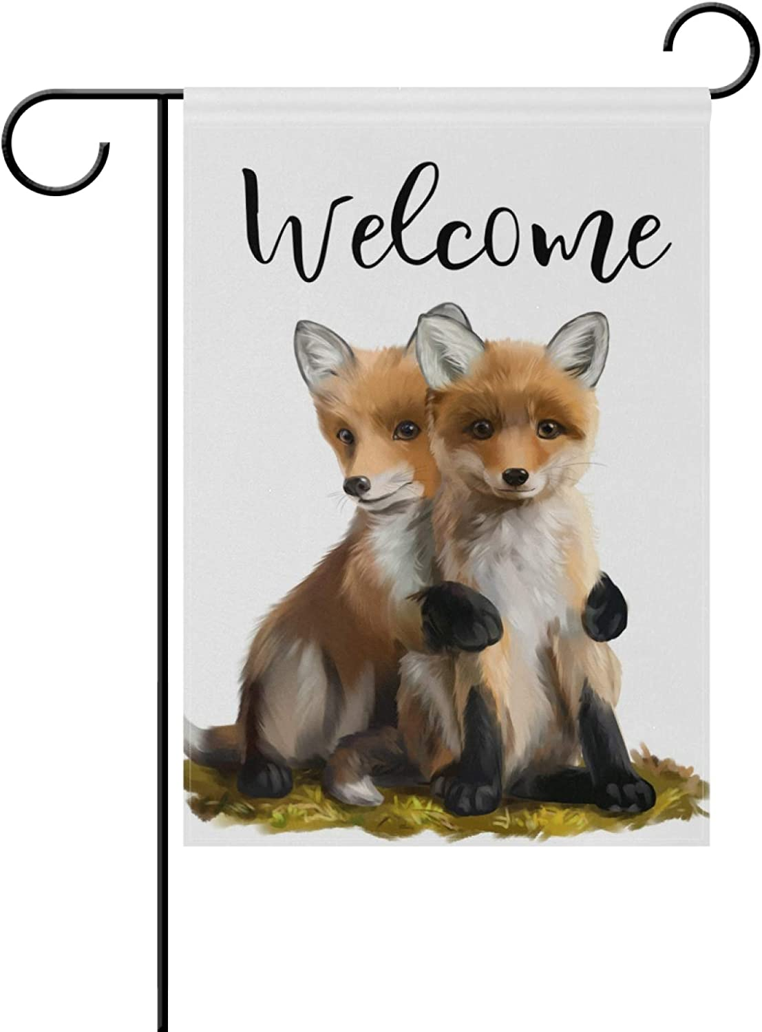 Tarity Welcome Two Little Foxes Seasonal Garden Flag Double Sided Garden Flag Welcome Spring Summer Outdoor Festival Holiday Decorative House Yard Flag Garden Flag 12x18 in