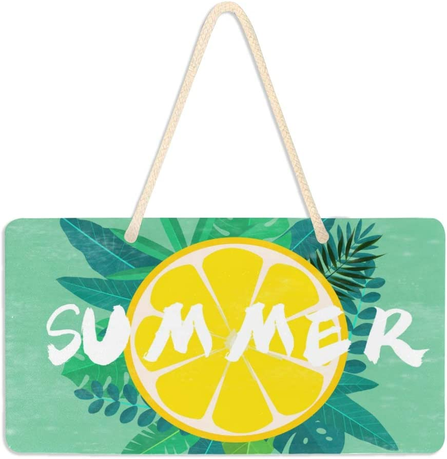 VIKKO Summer Leaves Lemon Door Sign PVC Front Door Plaque Hanger Holiday Decoration for Farmhouse Office Coffee Shop Bar, 6 X 11 Inch