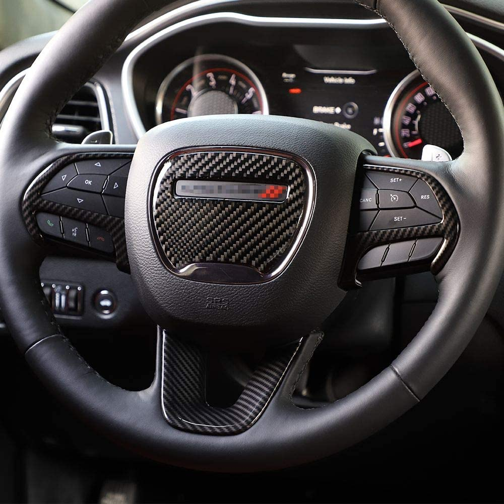 4pcs Voodonala for Challenger Charger Durango ABS Carbon Fiber Steering Wheel Trim for 2015-2020 Dodge Challenger Charger for 2014-2020 Dodge Durango and Jeep Grand Cherokee SRT8