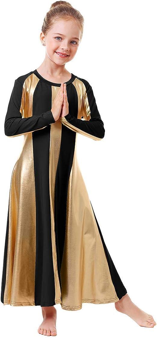 Tutu Leotard Girls Full Length Long Sleeve Fit Liturgical Praise Dance Dress