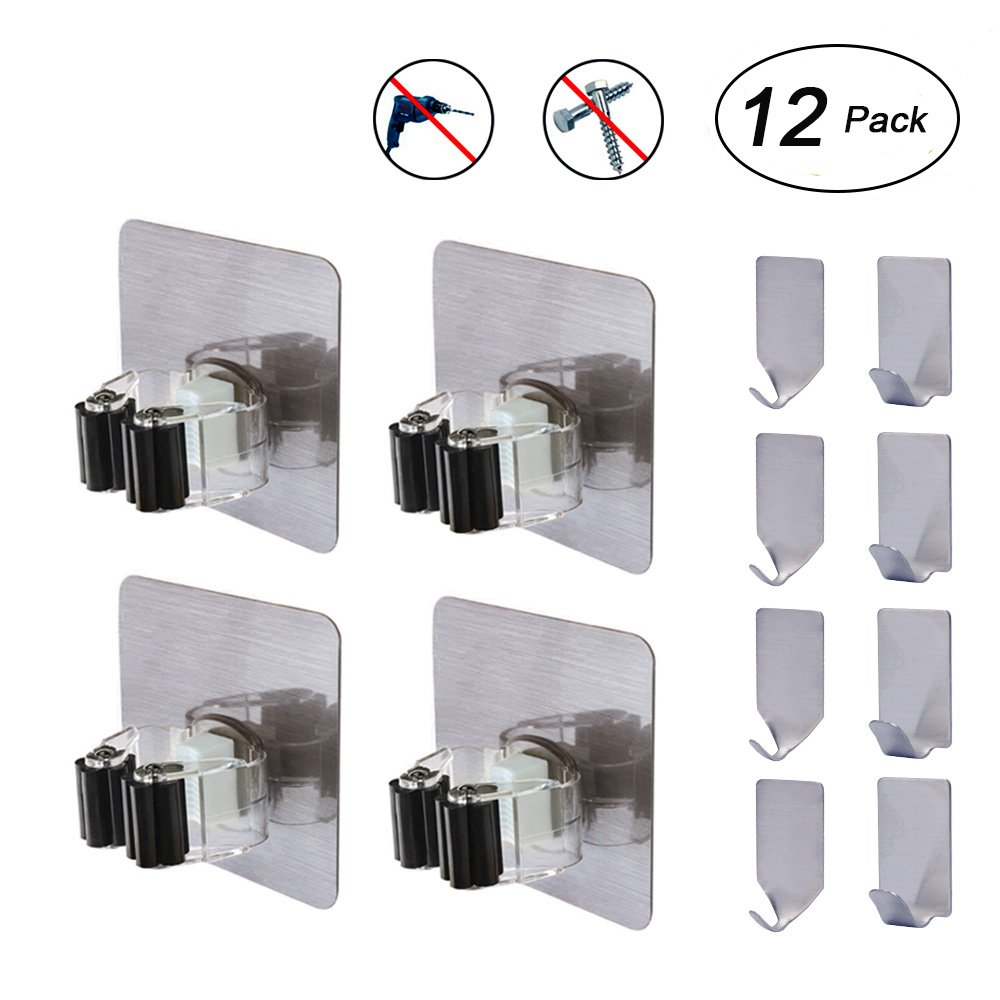 Flecom Mop Holder, Broom Holder Wall Mount with Adhesive Hooks Heavy Duty Wall Hooks Waterproof Wall Hangers for Kitchen Bathroom Wardrobe and Home, 12 Pack by Flecom