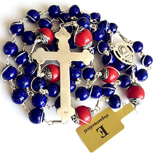 Handmade Sterling 925 Silver Lapis Lazuli Beads Rosary Cross Crucifix Catholic Necklace Gifts by elegantmedical (Image #7)