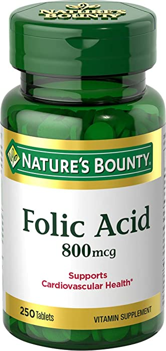 Nature's Bounty Folic Acid Supplement, Supports Cardiovascular Health, 800mcg, 250 Tablets, 3 Pack