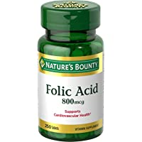 Nature's Bounty Folic Acid Supplement, Supports Cardiovascular Health, 800mcg, 250...