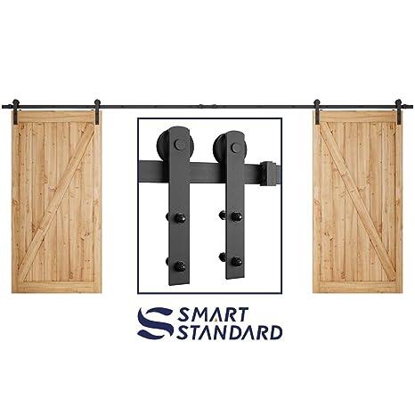 16ft Double Door Sliding Barn Door Hardware Kit Super Smoothly And
