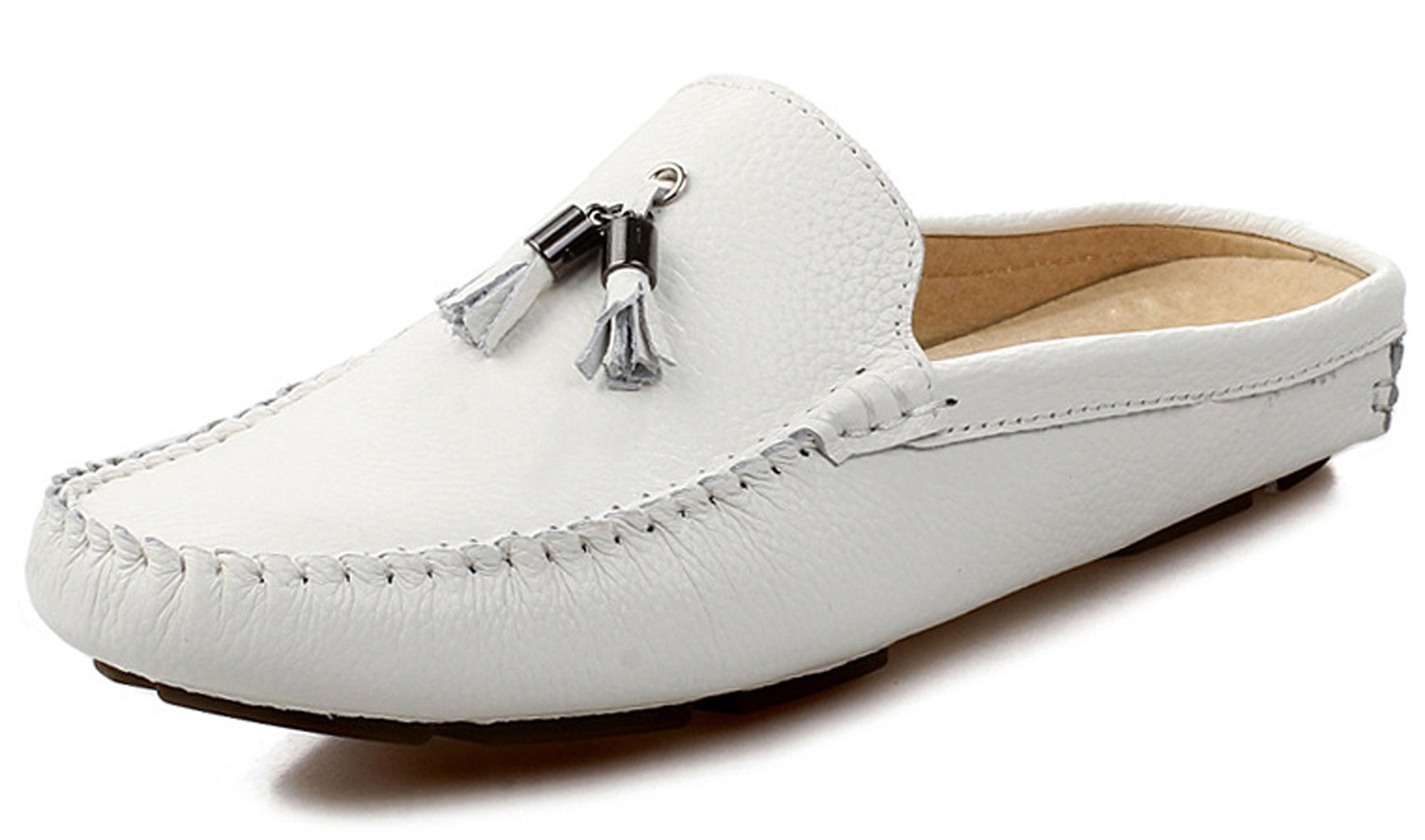 Santimon Men's Slippers Mules Clogs Tassel Leather Comfortable Slip on Shoes Casual Loafters White 8.5 D(M) US