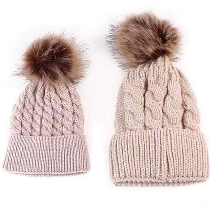 de1c0c77f0eed luxe b Baby 2PCS- Mommy and Me Baby Pom Pom Beanie Hats