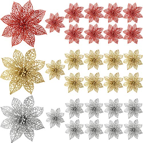 Sumind 30 Pieces Glitter Poinsettia Flowers Christmas Tree Poinsettia Ornaments for Christmas Valentine's Day New Year Floral Decorations (Red, Gold, Silvery)