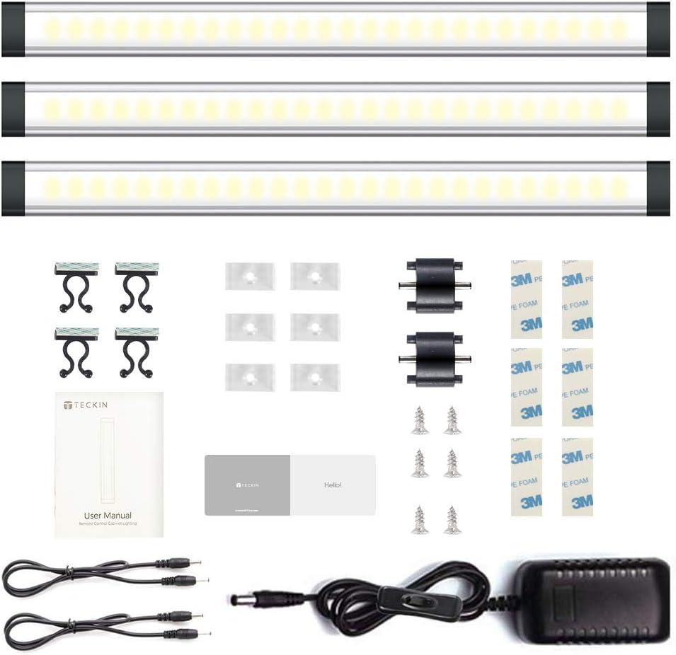 Kitchen Strip Lights LED Light Bars with Remote Controller Natural White 4000K 12W 800 Lumens Under Cabinet Lighting