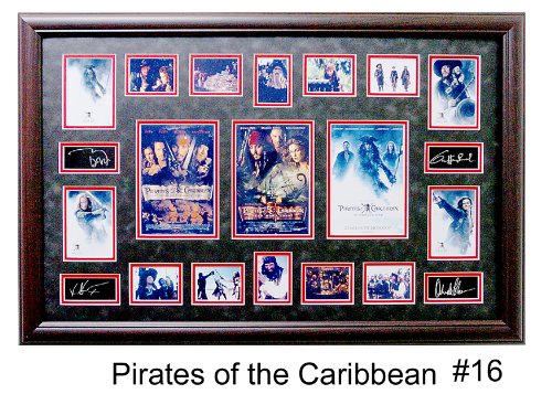 ((Pirates of the Caribbean) Ultimate Photo Collage Featuring 16 Movie Photo's W/facsimile Autographs Professionally Matted an Framed to a 24x36 Finished Size)