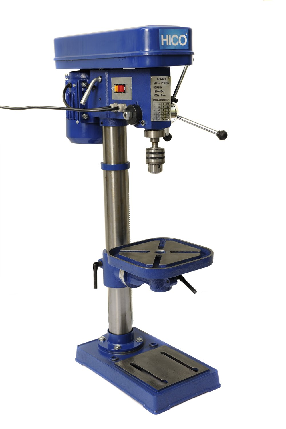 HICO 13-Inch Drill Press Height Adjustable, 12 Speed Motor, Cast Iron Table