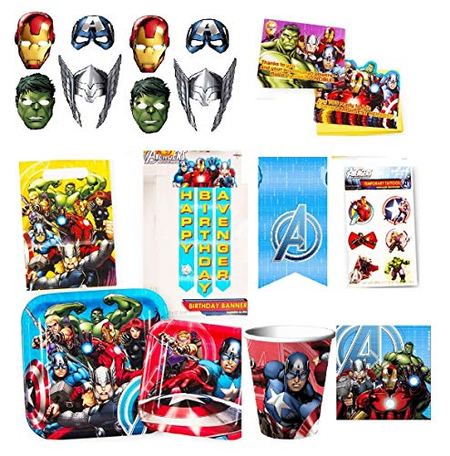 Marvel Avengers Party Supplies Ultimate Set (85 Pieces) -- Party Favors, Birthday Party Decorations, Plates, Cups, Napkins, Invitations and More! -