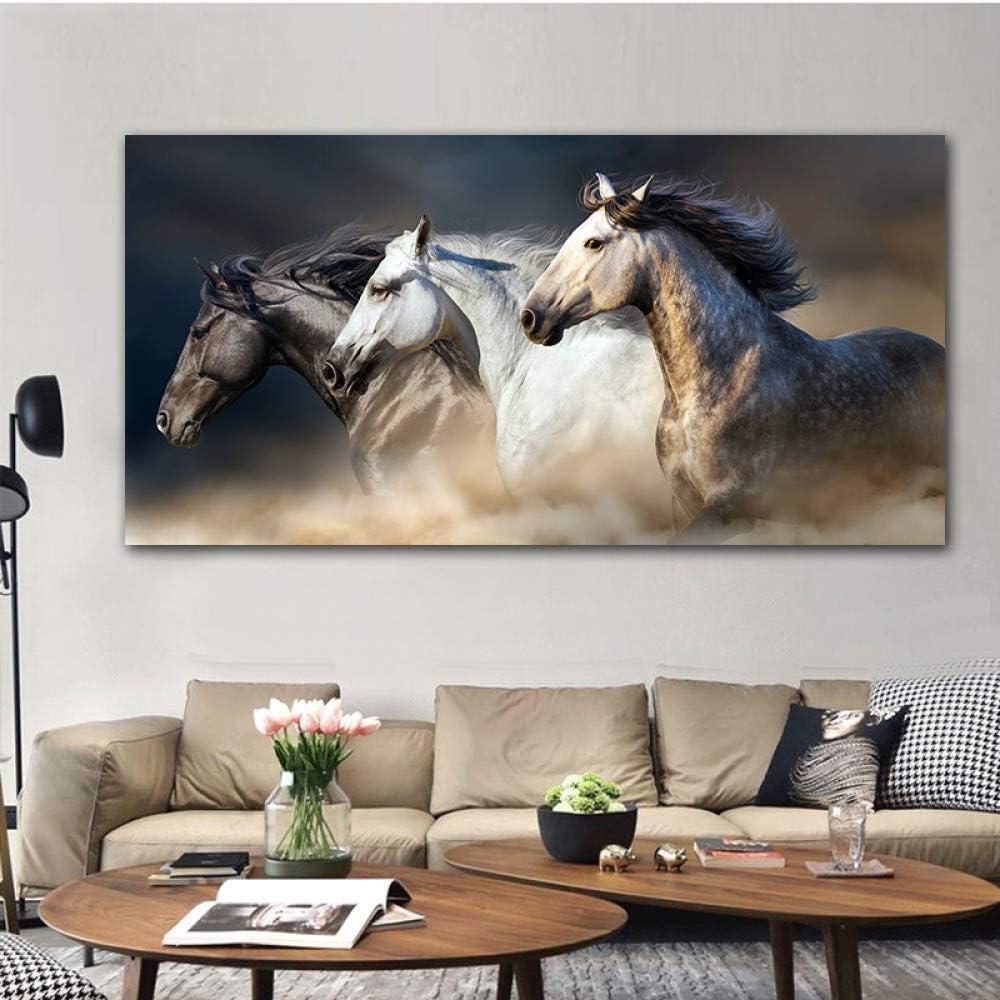 Cuadros de lienzo de arte de pared Los caballos corriendo para la sala Decoración de animales Pintura para el hogar 60x120cm