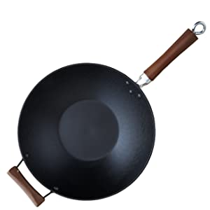 IMUSA USA GKG-61021 Light Cast Iron Wok with Wood Handles 14-Inch, Black