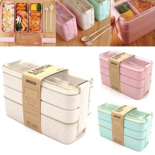 Wekold 900ML Cube Lunch Box, 3 Layered Partition Portable ...