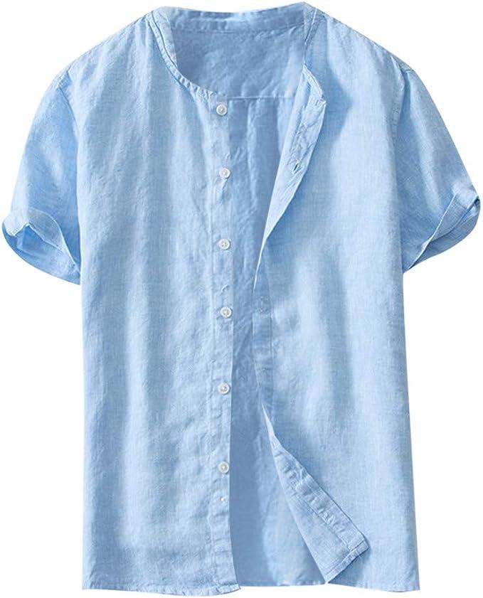 Men/'s Short Sleeve linen Blouse T-shirt Tops Henley Casual Shirt Button Tee Tops