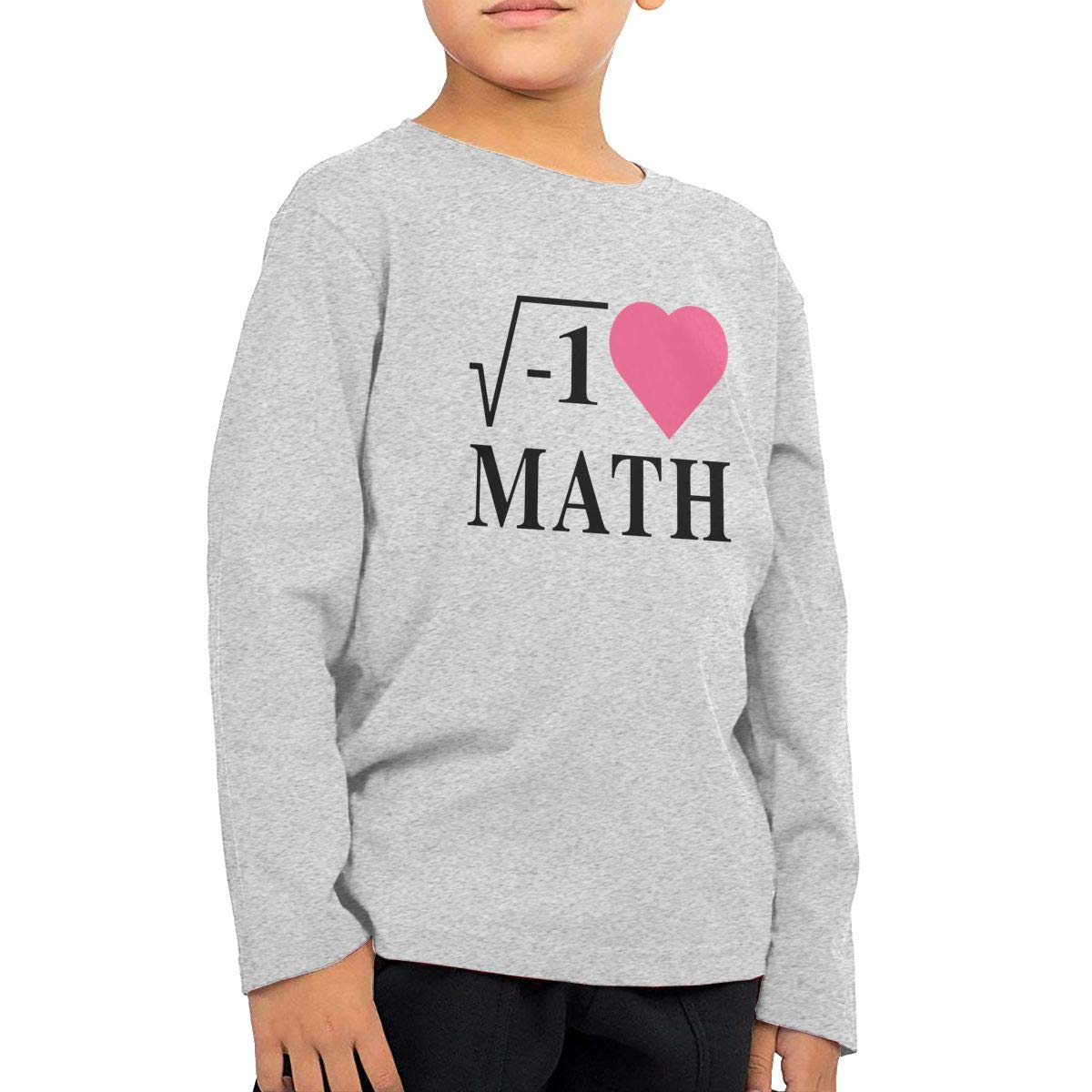 I Love Math Childrens Gray Cotton Long Sleeve Round Neck T Shirt for Boy Or Girl