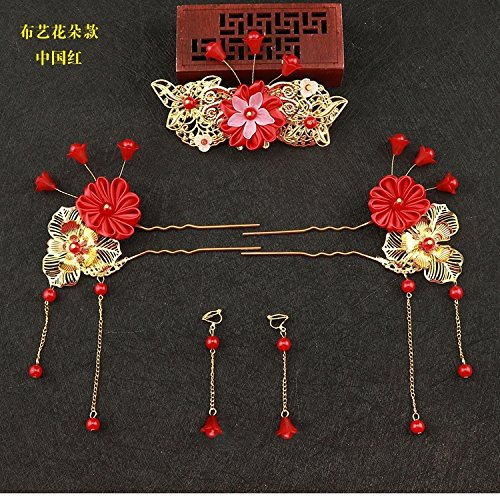 HJPRT child girl antique chinese costume han chinese clothing accessories silk flower color tassels princess royal retro hair hair cosplay (fabric flowers section - china red (ear clip)