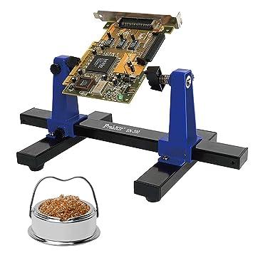 Ajustable del soporte para tarjetas de circuito impreso con el limpiador de Punta de soldadura de hierro y Asamblea soporte de pinzas 360 grados de ...