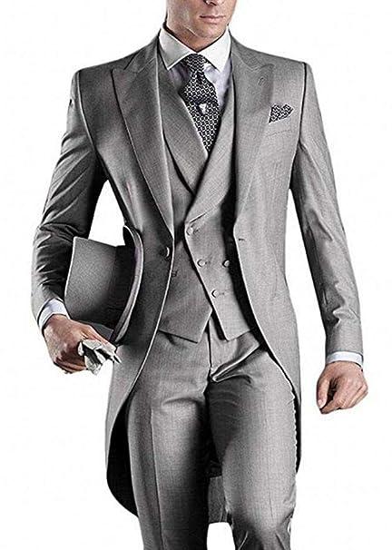 Amazon.com: 3 piezas gris claro trajes mañana hombre novio ...