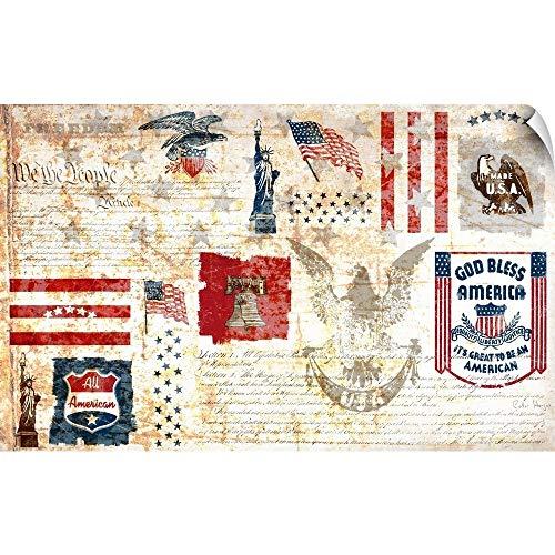 CANVAS ON DEMAND Vintage All American Collage Wall Peel Art Print, 60