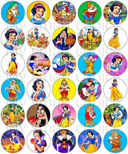(30 x Edible Cupcake Toppers - Snow White & The Seven Dwarfs Themed Collection of Edible Cake Decorations   Uncut Edible Prints on Wafer Sheet)