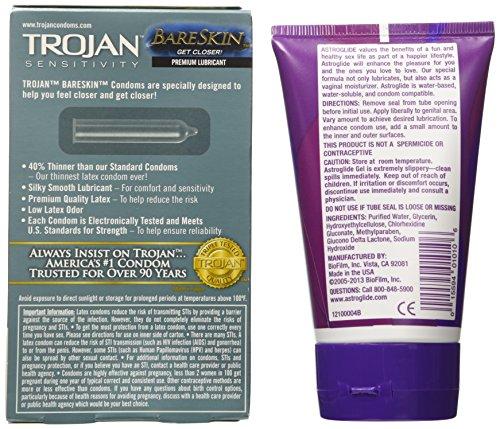 Trojan Sensitivity Bareskin Lubricated - Latex Condoms + Bonus FREE Astroglide Gel 4 Ounce