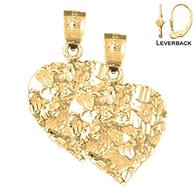 ba6a3a6acafa6 Amazon.com: 14K Yellow Gold Nugget Heart Earrings - 25mm: Jewelry