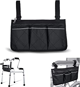 Wheelchair Armrest Accessories, Side Bags to Hang on Side with Bright Line Waterproof Black Walker Storage Pouches for Home/Outdoor/Baby Cart (Black Side)