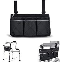 [Upgraded] Rolstoel tas met zakken - universele waterdichte armleuning zijtas voor elektrische rolstoel, mobiliteit…