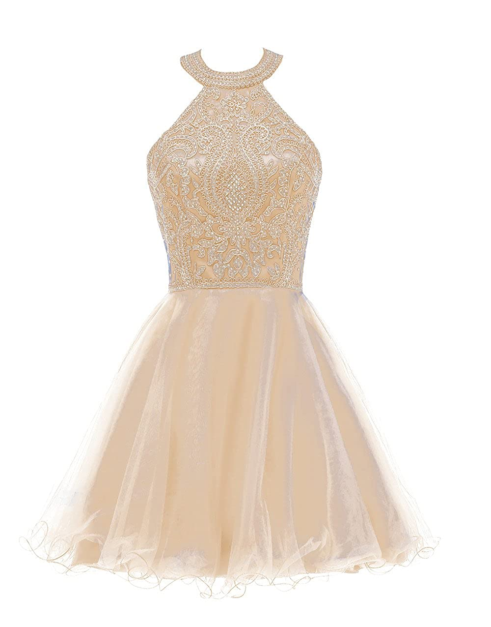 Champagne Huifany Short gold Lace Prom Homecoming Dresses Appliques Beads Prom Party Gowns