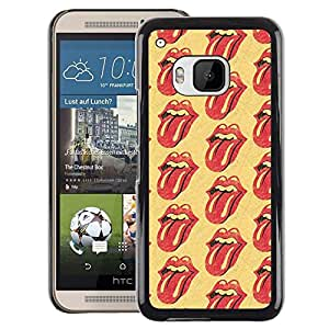 A-type Arte & diseño plástico duro Fundas Cover Cubre Hard Case Cover para HTC One M9 (Rolling Music Band Yellow Lips Tongue)