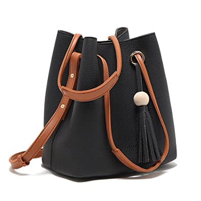 Turelifes Tassel buckets Totes Handbag Women s casual Shoulder Bags Soft Leather  Crossbody Bag 3 Back Method 11133a342c724