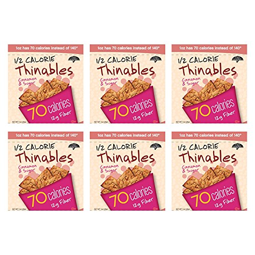 High Fiber Cinnamon Thinables, Six 1 oz. Bags, Healthy, Low Carb, Low Fat, 12g of Fiber