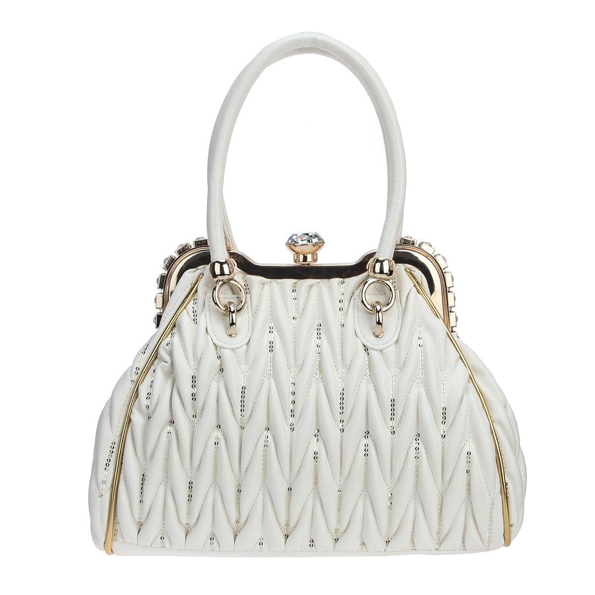 Fawziya Big Crystal Sequins Tote Bag For Women Shoulder Handbag With Pockets-White